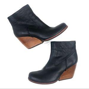 Kork-Ease Natalya Wedge Bootie Black Leather 8